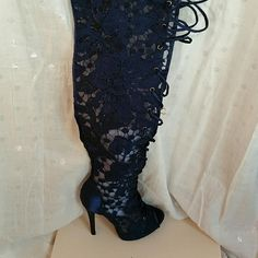Shoedazzle Sandrianna Navy Lace thigh high boots The sexiest lace up heels you have ever seen! Size 7. Never worn. Open toed Shoe Dazzle Shoes Lace Up Boots