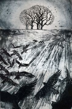 At Dusk, a collagraph print by Kerry Buck Collagraph Printmaking, Tinta China, Rabe, Landscape Prints, Wildlife Art, Map Art, Painting Inspiration, Art Images, Cool Art