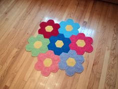 Crochet Flower Rug Nursery Rug Playroom Rug by WendysWonders127