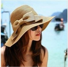 4d016cf8b52 Online Shop Big Bow 2015 New Foldable Straw Sun Hat Large Wide Brim Floppy  Bowknot Cap