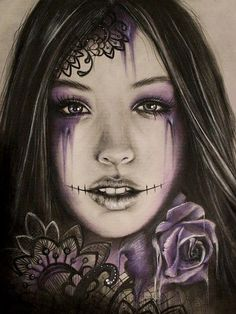 www.facebook.com/... By: Sheena Pike ~ ART ~ coloured pencil, PanPastels Art. sugar skull, rose, lowbrow, pop surrealism, illustration, sheena pike art, roses tattoo, portrait, purple, macabre, lace, dark art, gothic, girl portrait This piece can be purchased on my website...please visit! sheena-pike.artis... and thank you for the Pin...I appreciate the exposure. (copyright of #SheenaPikeArt )
