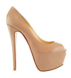 Christian Louboutin Highness 160 Leather Pumps Nude Red Bottom Shoes