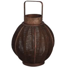 Dark Brown Flax Lantern - Large