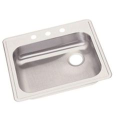 Elkay GE12521R3 Dayton Stainless Steel Single Bowl Top Mount Sink with 3 Faucet Holes, Satin, Silver