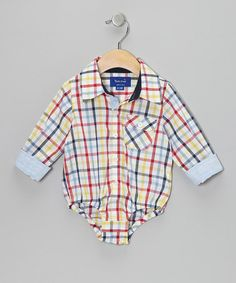 Take a look at this Red & Navy Plaid Button-Up Bodysuit - Infant by Beetle & Thread on #zulily today!