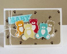 A parade of colorful teddy bears makes a cute handmade baby card.