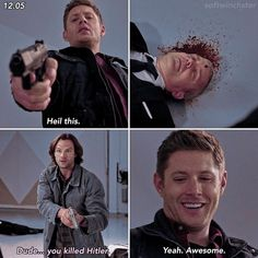Supernatural Season 12, Supernatural Memes, Funny Animal Memes, Funny Memes, Winchester Brothers, Super Natural, Destiel, Geek Culture, Best Tv Shows