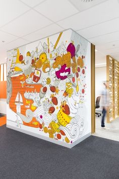 Melbourne Commonwealth Bank interior by Frost* Design. Melbourne Commonwealth Bank interior by Frost* Design. Office Mural, Office Walls, Office Decor, Office Ideas, Office Interior Design, Interior Walls, Office Interiors, Wall Art Designs, Wall Design