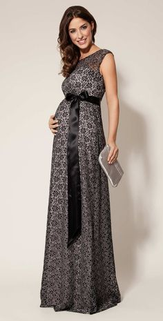 Daisy Maternity Gown Long (Black and Silver) - Maternity Wedding Dresses, Evening Wear and Party Clothes by Tiffany Rose