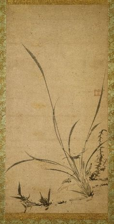 Collections: Asian Art: Kakemono: Orchids, Bamboo, and Thorns - Right ...