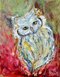 SALE  Original oil OWL PALETTE KNiFE painting by Karensfineart