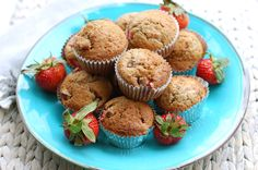 Healthy Strawberry Muffins! Strawberry Muffins Healthy, Something Sweet, Cravings, Caramel, Chocolate, Breakfast, Recipes, Food, Gourmet