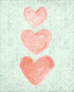 "A pretty trio of coral watercolor hearts perfect for your coral and mint nursery. Created from my original watercolor heart paintings. Details Paper size is 8""x 10"" Printed on white finely textured art paper. Fits perfectly in a standard 8x10 frame. Frame not included. 11x14"