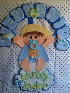 Decoración goma eva Distintivos Baby Shower, Baby Showers, Baby Shower Souvenirs, Boy Decor, Ideas Para Fiestas, Baby Dress, Baby Gifts, Diy And Crafts, Dolls