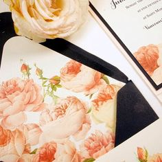 Custom Envelope Liner Close Up with Vintage Roses and Navy Accents for Wedding Invitation honey-paper.com #santabarbarawedding #santaynezwedding