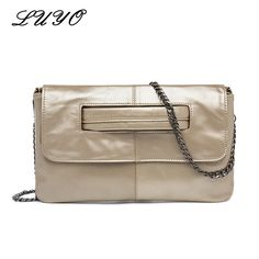 057fd55f89c6 LUYO Genuine Leather Women s Envelope Clutch Bag Chain Crossbody Bags For Women  Handbag Messenger Bag Ladies