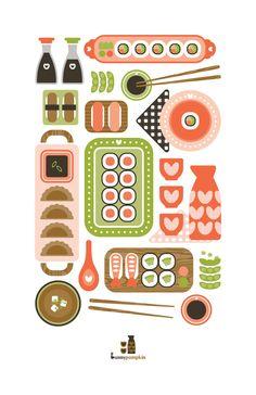 Sushi Illustration from Bunny Pumpkin on Etsy. Flat Illustration, Food Illustrations, Graphic Design Illustration, Kitchen Prints, Kitchen Art, Sushi Party, Sushi Sushi, Flat Design, Design Ios