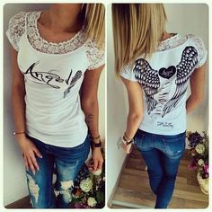 db7e8526e35d Summer New fashion lace angle wing printed T-shirts for women tee shirt  femme camisetas