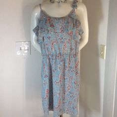 BEAUTIFUL LIGHT BLUE FLOWERED LINED SUN DRESS BEAUTIFUL LIGHT BLUE LINED  FLOWERED DRESS WITH ADJUSTABLE STRAPS AND SEQINS ON FLOWERS ON THE STRAP AND RUFFLES SZ LARGE WISH Dresses