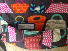 Lining detail of coffee sack clutch bag