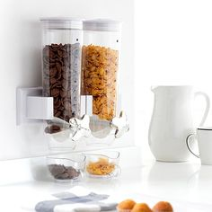 BigBuy Cooking Wall Mounted Double Cereal Dispensor The new wall mounted double cereal dispenser is a must-have in your kitchen! Made of plastic Total capaci. Cereal Dispenser, Household Items, Wall Mount, Dishwasher, Candle Holders, Gadgets, Things To Sell, Code Promo, Kitchen Storage