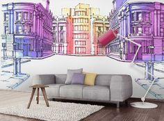 Papier peint panoramique 4 largeurs décor Pastel Street - Decotaime