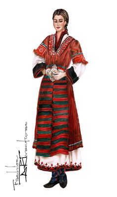 Bulgarian Folk Costume Nosiya, fashion Illustration Tutorial by Fashion ARTventures