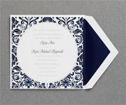 Your wording is printed in pewter while your names match the delicate damask pattern in midnight on luxurious bright white paper