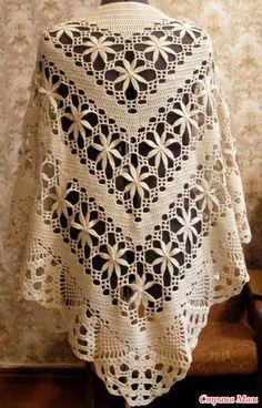 Yarns Patterns in Crochet: Shawl Crochet Yarn Stylish in Store Poncho Crochet, Crochet Shawl Diagram, Crochet Shawls And Wraps, Crochet Chart, Crochet Scarves, Crochet Clothes, Crochet Lace, Crochet Stitches, Flower Crochet