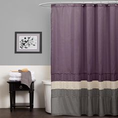 Purple Graysilver Color Combolove Pretty Shower Curtain With