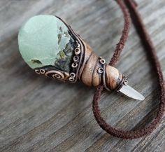 Best pendant ever!  Prehnite Epidote Pendant White Calcite Necklace Mineral Specimen Healing
