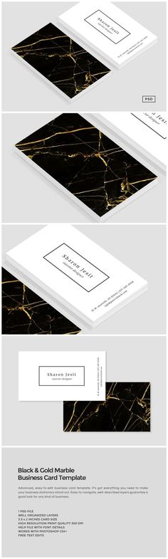 Black & Gold Marble Business Card by The Design Label on /creativemarket/
