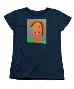 Patrick Francis Women's Navy Designer T-Shirt featuring the painting Portrait Of A Young Girl 2015 by Patrick Francis