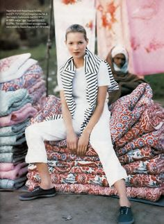 UK Vogue June 1994 The Shape of Summer Ph: Arthur Elgort Models: Kate Moss; Christy Turlington Fashion Editor: Lucinda Chambers Hair: Guido Makeup: Miranda Joyce