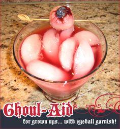 ... Eyeball Garnish - use lychee fruit, raspberry jam and blueberries