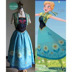 Disney Frozen Fever Cosplay, Anna Costume Set ($250) ❤ liked on Polyvore featuring costumes, cosplay costumes, cosplay halloween costumes, disney halloween costumes, disney and blue costumes