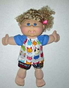 Cabbage Patch Doll I love Kitty's Short Set by Dakocreations, $13.99
