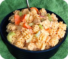 Buffalo Chicken Pasta Salad--I think I just found my next church potluck dish....
