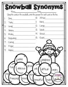 Have students practice finding synonyms for words with this fun winter printable that is part of a Winter Literacy and Math No Prep Bundle for Second Grade. 2nd Grade Grammar, 2nd Grade Ela, 2nd Grade Reading, Second Grade, Grade 2, Synonym Activities, Speech Activities, Language Activities, Synonym Worksheet