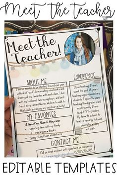 meet the teacher night Help your new students and families get to know you better this back to school season with these EDITABLE Meet the Teacher Letter many different color and Teacher Welcome Letters, Letter To Teacher, Letter To Parents, Parents As Teachers, Back To School Night, Welcome Back To School, Teacher Introduction Letter, Professor, Meet The Teacher Template