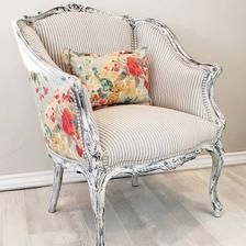 Antique Farmhouse, Farmhouse Furniture, Farmhouse Accent Chairs, Antique Chairs, Vintage Chairs, Upholstered Furniture, Painted Furniture, Floral Chair, Floral Accent Chair