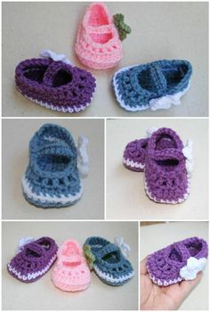 free crochet Mary Janes skimmers booties free pattern