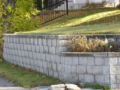 concrete block retaining wall neat and