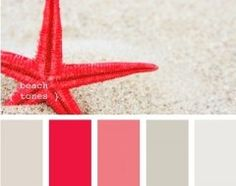 coral and light taupe