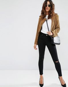 Get this Asos's skinny jeans now! Click for more details. Worldwide shipping. ASOS Ridley Skinny Jeans In Clean Black With Rips - Black: Ridley ultra skinny jeans by ASOS Collection, Super soft high-stretch denim, Stretch added for comfort and fit, Ultra skinny fit through the leg, Contoured bottom lifting back pockets, High rise, Dark wash, Skinny fit � cut closely to the body, Machine wash, 66% Cotton, 20% Polyester, 11% Viscose, 3% Elastane, Our model wears a UK 8/W26 L32 and is…