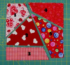 Crazy Quilt Block - make sure to over-size this, as the side with three pieces will end up shorter than the side with two pieces