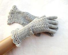 Tricot gants de laine, tricot gants doigts de dentelle, gants résille avec doigts, tricot chauffe-mains gris, accessoires pour femmes, gants de soirée,