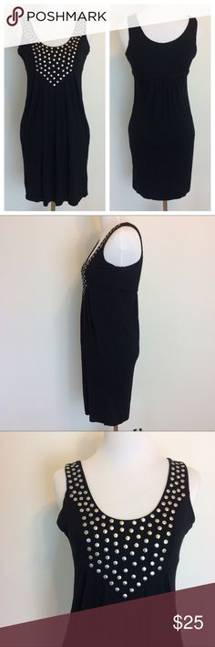 """Pink Rose Black Studded Sleeveless Dresd Black Pink Rose dress with Studded details on bodice and front pleating. Stretchy fabric. Size Medium. Underarm measurement is 16.5"""".  Length is 33.5"""". Pink Rose Dresses"""