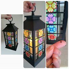 Lantern with hama mini perler flower decoration by skoogsparlan