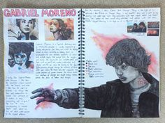 Gabriel Moreno artist page for GCSE identity sketchbook - A Level Art Sketchbook - Gabriel, Gcse Art Sketchbook, Sketchbook Ideas, A Level Art Sketchbook Layout, Sketchbooks, Textiles Sketchbook, Arte Gcse, Identity Artists, Artist Research Page